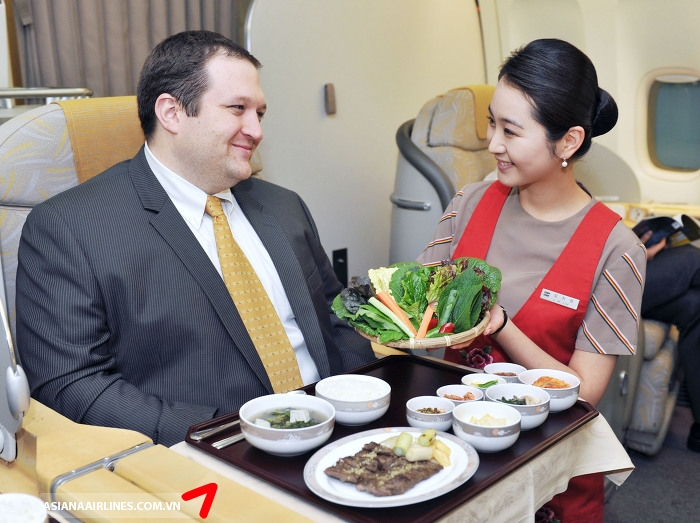 business class asiana thuc don