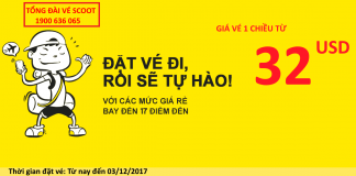 Scoot Airlines KM vé chỉ từ 32 USD
