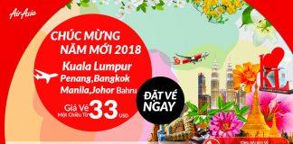 Air Asia mở bán vé 1 chiều năm 2018 chỉ từ 33 USD