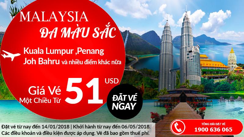 Air Asia khuyến mãi vé đi Malaysia từ Việt Nam