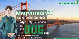 Vé đi Mỹ/ Canada chỉ từ 806 USD - Eva Air