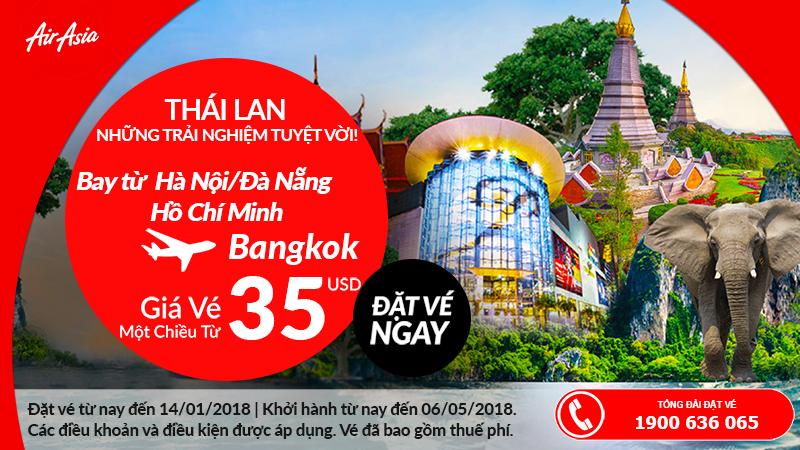Air Asia khuyến mãi vé đi Thái Lan từ Việt Nam