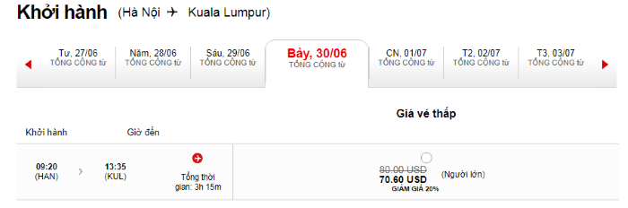 Hành trình từ Hà Nội đi Kuala Lumpur