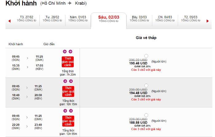 Hành trình từ Hồ Chí Minh đi Krabi