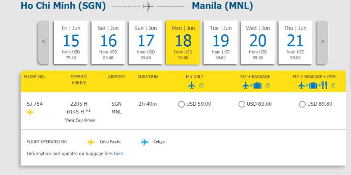 Hành trình từ Hồ Chí Minh đi Manila