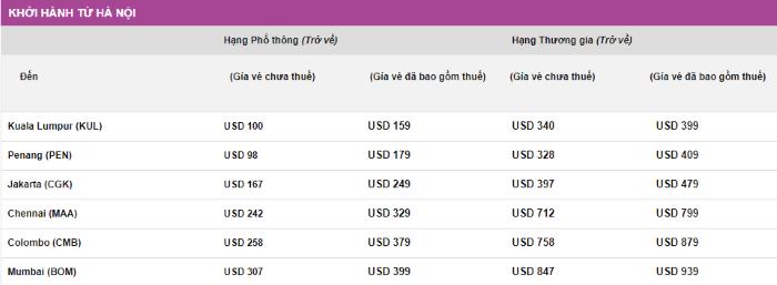 Giá vé khuyến mại Malindo Air đi từ Hà Nội