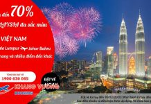 Air Asia giảm 70% giá vé máy bay đi Malaysia