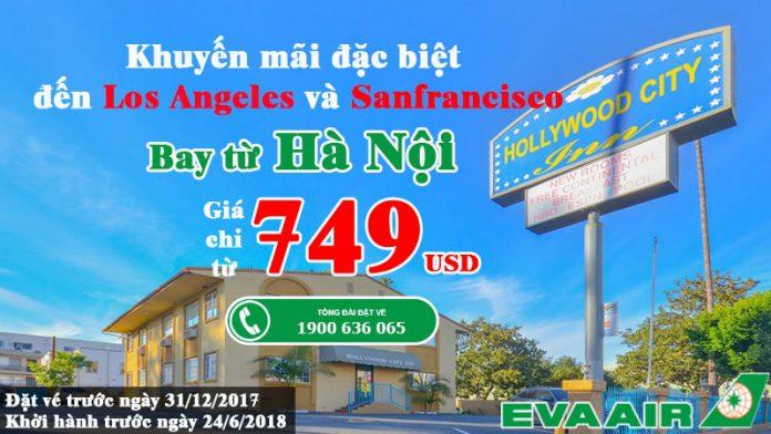 Vé Eva Air KM đến Mỹ siêu rẻ từ Hà Nội