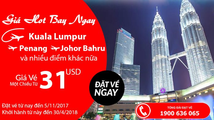 KM Air Asia bay châu Á chỉ từ 31 USD siêu rẻ