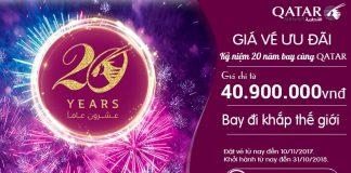 Ưu đãi đặc biệt của Qatar nhân dịp kỉ niệm 20 năm!