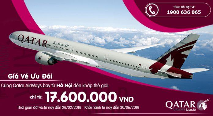 Qatar mở bán vé khứ hồi giá rr từ Hà Nội