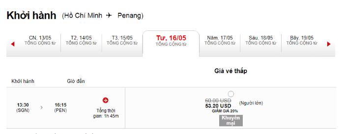 Hành trình đi từ Hồ Chí Minh đến Penang