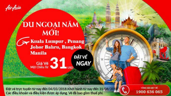 Air Asia khuyến mại vé bay chỉ từ 31 USD