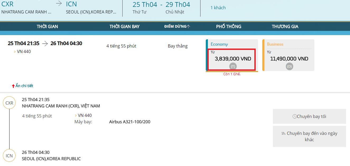 Vé máy bay Nha Trang đi Seoul