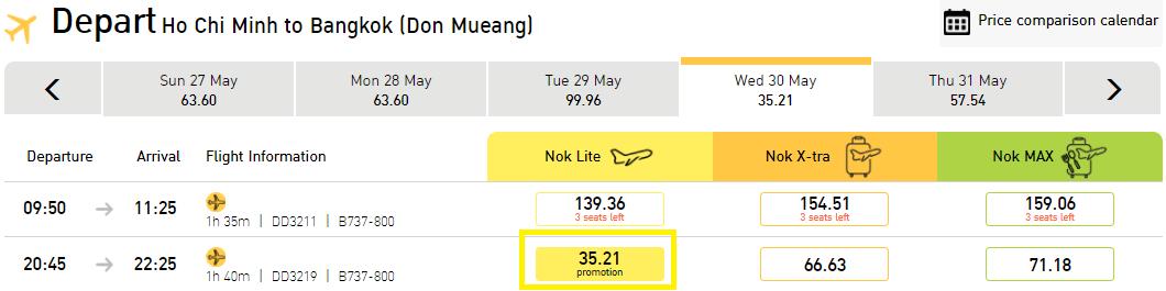 vé Nok Air chỉ từ 35 USD