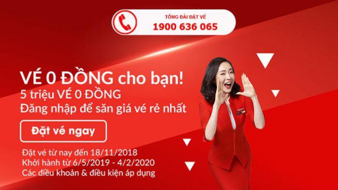5 triệu vé 0 đồng đến từ Air Asia