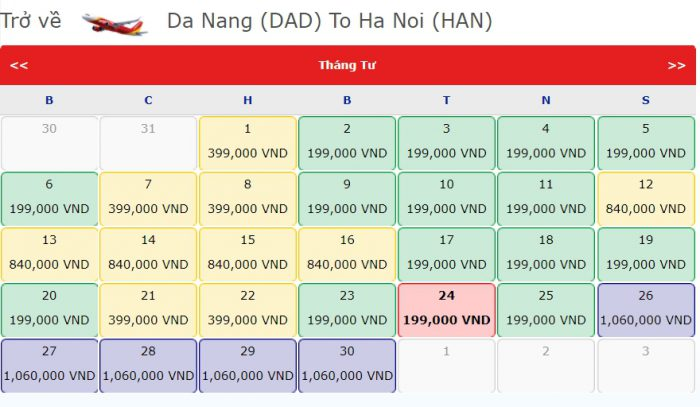 Vé Máy bay 0 đồng từ Đà Nẵng đi Hà Nội