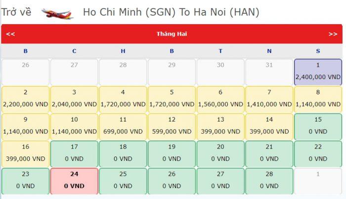 Vé Máy bay 0 đồng từ Hồ Chí Minh đi Hà Nội