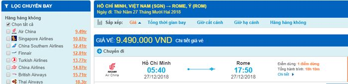 Giá vé máy bay đi Ý từ Hồ Chí Minh