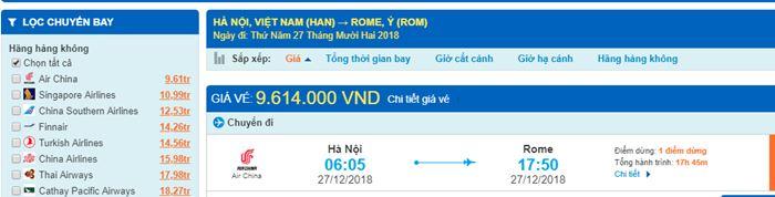 Giá vé máy bay đi Ý từ Hà Nội
