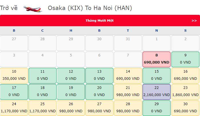 Vé máy bay 0 đồng Osaka - Hà Nội