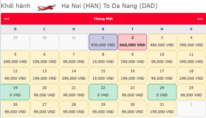 Giá vé máy bay 0 đồng hành trình Hà Nội đi Đà Nẵng