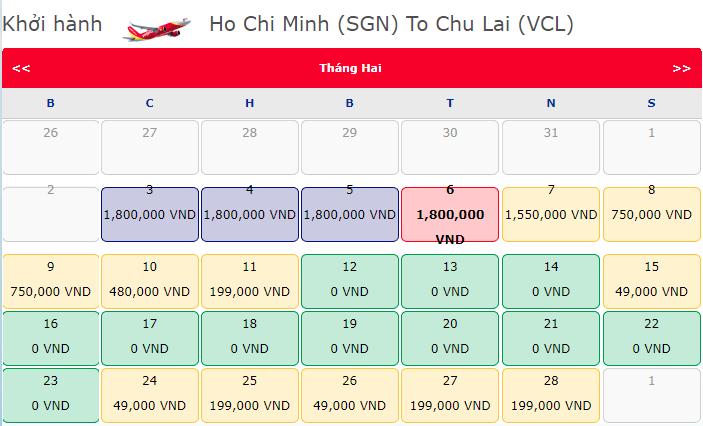 Giá vé máy bay 0 đồng hành trình Hồ Chí Minh đi Chu Lai