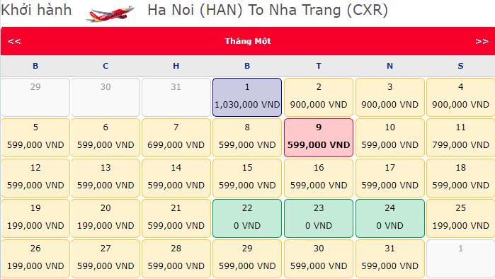 Giá vé má bay khuyến mãi 0 đồng từ Hà Nội đi Nha Trang