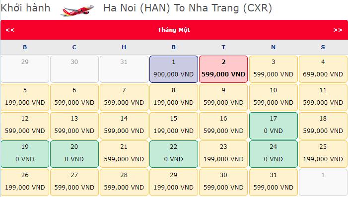 Giá vé máy bay 0 đồng hành trình Hà Nội đi Nha Trang