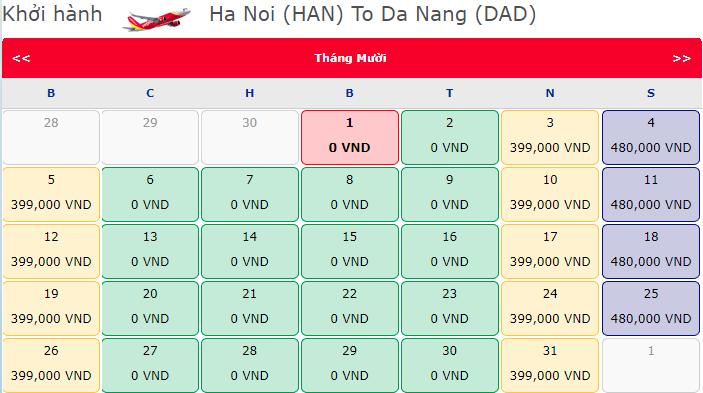 Vé máy bay 0 đồng hành trình Hà Nội đi Đà Nẵng