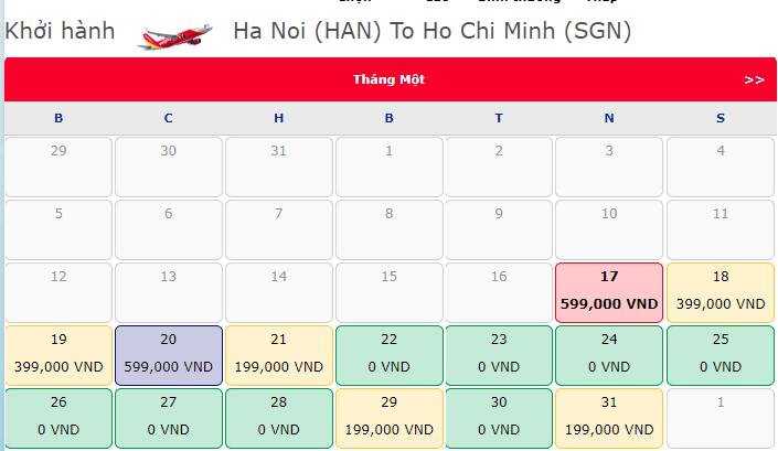 Khuyến mãi 1.800.000 vé 0 đồng hành trình Hà Nội Hồ Chí Minh