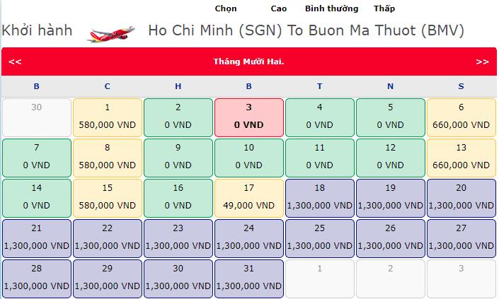 Vé máy bay 0 đồng hành trình Hồ Chí Minh đi Buôn Mê Thuật