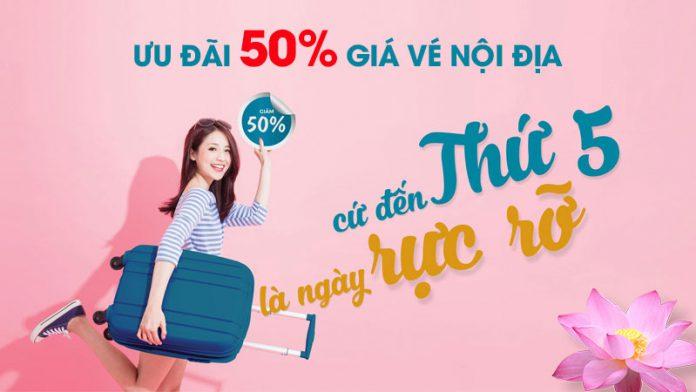 Vietnam Airlines giảm 50% giá vé máy bay nội địa vào thứ 5