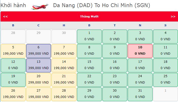 Vé máy bay 0 đồng Vietjet hành trình Đà Nẵng - Hồ Chí Minh