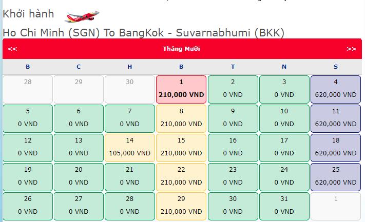 Khuyến mãi vé máy bay 0 đồng hành trình Hồ Chí Minh đi Thái Lan