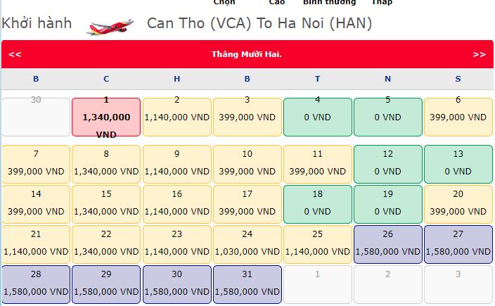 Giá vé máy bay 0 đồng của Vietjet từ Cần Thơ đi Hà Nội