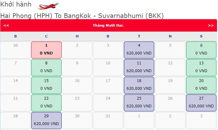 Giá vé máy bay 0 đồng của Vietjet từ Hải Phòng đi Bangkok