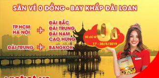 Vietjet khuyến mãi khủng chỉ 0 đồng tất cả đường bay Đài Loan