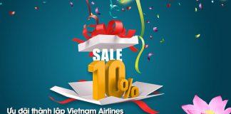 Ưu đãi 10% giá vé máy bay kỷ niệm 24 năm thành lập Vietnam Airlines