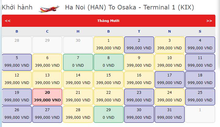 Khuyến mãi 0 đồng Vietjet Hà Nội đi Osaka