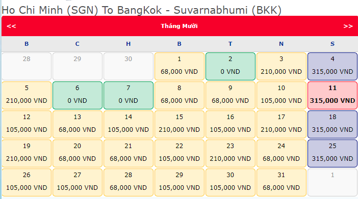 Khuyến mãi bay quốc tế hành trình Hồ Chí Minh Bangkok