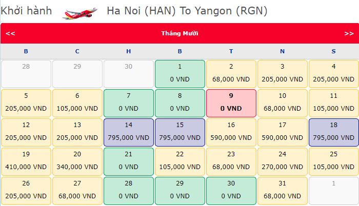 Khuyến mãi bay quốc tế hành trình Hà Nội đi Yangon
