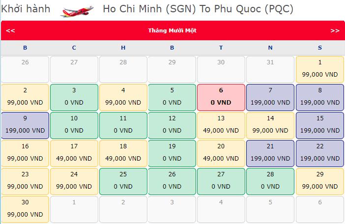 Vé khuyến mãi 0 đồng Vietjet từ Hồ Chí Minh đi Phú Quốc
