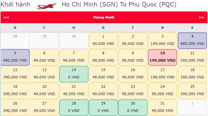 Vé 0 Đồng khuyến mãi hành trình Hồ Chí Minh đi Phú Quốc