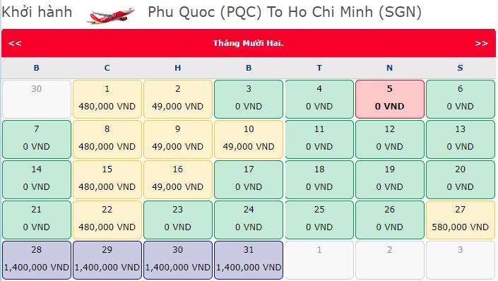 Vé khuyến mãi 0 đồng Vietjet từ Phú Quốc đi Hồ Chí Minh