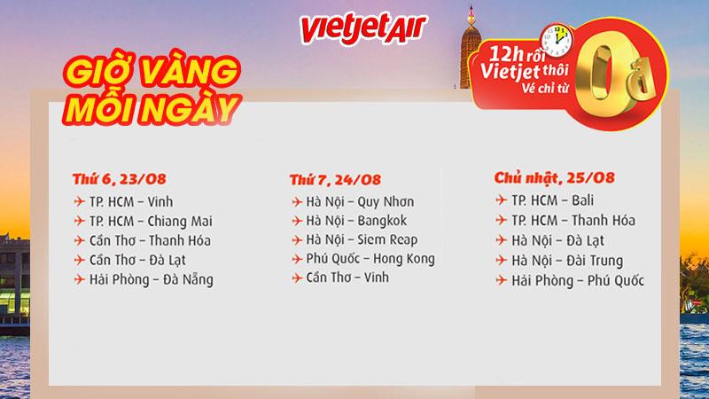 Khuyến mãi 0 đồng bay thỏa thích cùng Vietjet Air