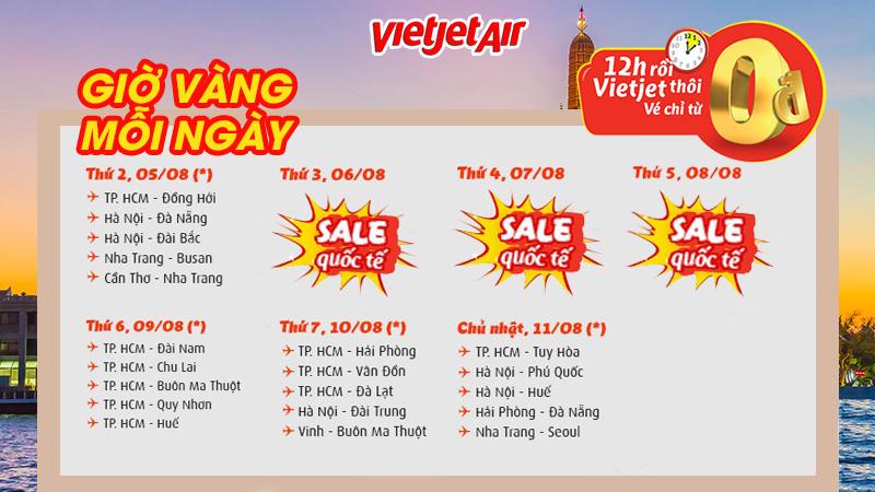 danh sách đường bay 0 đồng trong 7 ngày vàng từ Vietjet