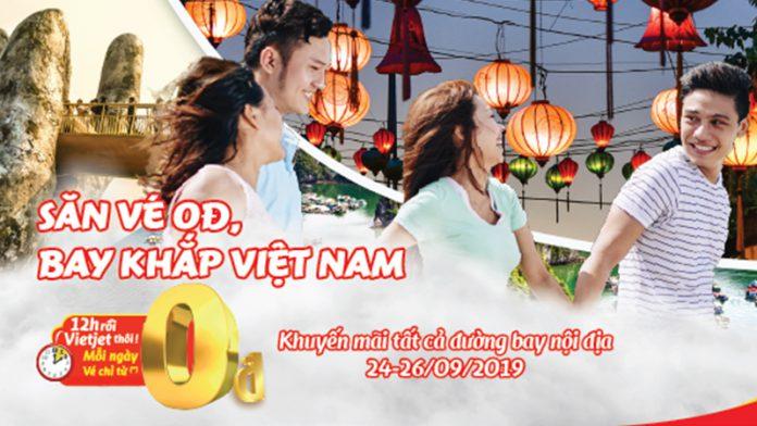 12 giờ săn vé khuyến mãi 0 đồng Vietjet bay khắp Việt Nam