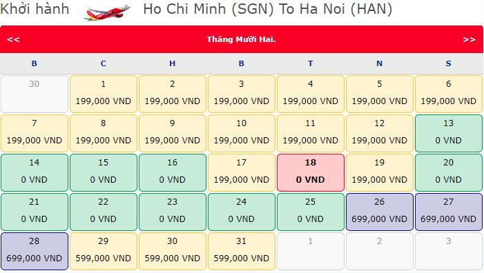 Vé máy bay khuyến mãi 0 đồng Hành trình Hồ Chí Minh đi Hà Nội