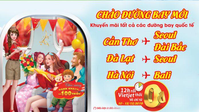 Chào đường bay mới Vietjet Air khuyến mãi 1.980.000 vé 0 đồng